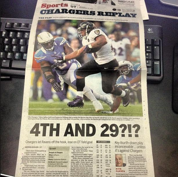 San Diego Chargers Boltman: The U-T Sports Page Made Me Laugh